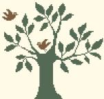 Arbre 2 oiseaux - 102 x 98 points