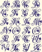 Alphabet raisins serviettes - pour chaque lettre, h=33 points