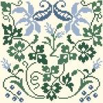 Carré Fleurs Bleu 89 x 89 points