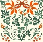 Carré Fleurs Oranger 89 x 89 points